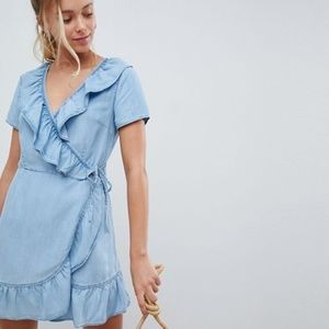 ASOS denim blue ruffle wrap dress